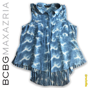 BCBG Sheer Blouse Hi Lo Hem Sleeveless Tie Dye L